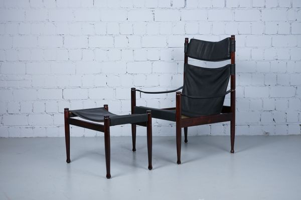 fauteuil pouf safari par erik wrts pour niels eilersen1960s - Fauteuil Et Pouf