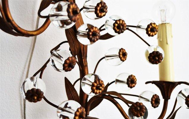 Et En Murale De Décorative Laiton1960s Applique Fleur Verre Murano QrhdCtsx