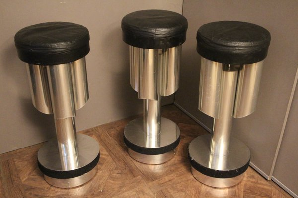 Sgabelli bar mid century in alluminio spazzolato ed acciaio