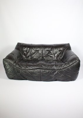 Vintage Black Leather 2 Seater Sofa By Hans Hopfer For Roche Bobois 1