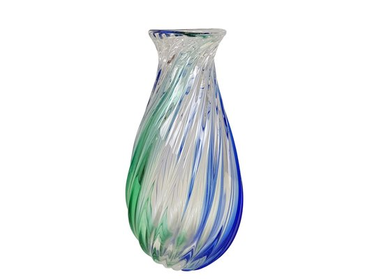 Vintage Italian Blue Green Murano Glass Vase By Archimede Seguso