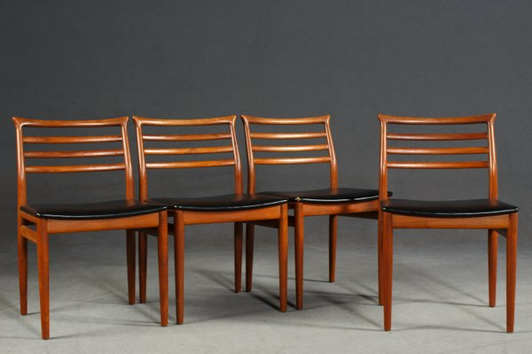 Delicieux Mid Century Teak Dining Chairs By Erling Torvits For Sorø Stolefabrik,  1960s, Set