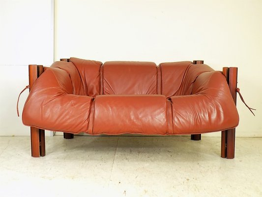 MP-211 Wood & Leather Two-Seater Sofa by Percival Lafer, 1970s