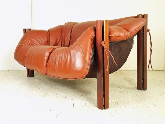 Charmant MP 211 Wood U0026 Leather Two Seater Sofa By Percival Lafer, 1970s