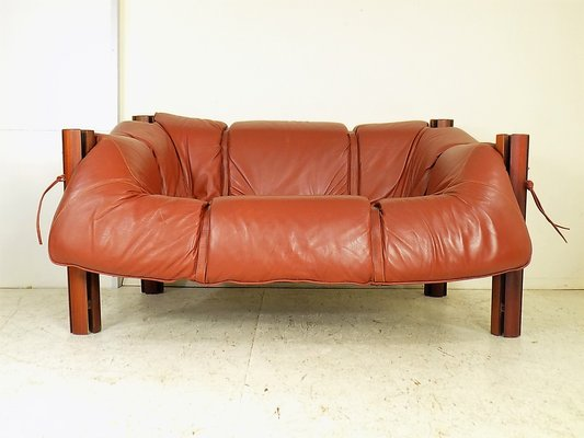 Mp 211 Wood Leather Two Seater Sofa By Percival Lafer 1970s