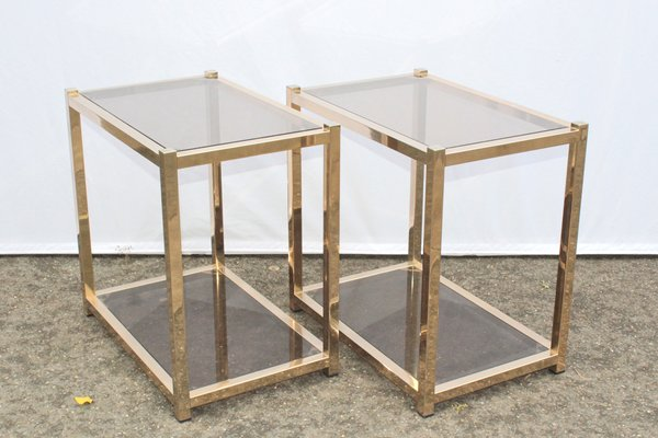 Vintage French Gold Metal Side Tables Set Of 2