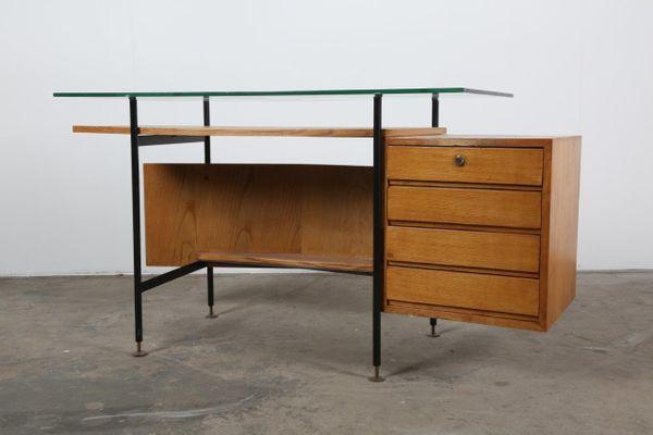 Mid Century Glas Schreibtisch Bei Pamono Kaufen