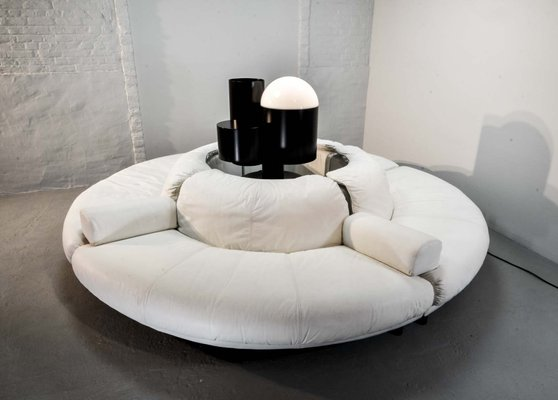 Magnificent Circular White Leather Sectional Italian Lounge Sofa 1970S Ibusinesslaw Wood Chair Design Ideas Ibusinesslaworg
