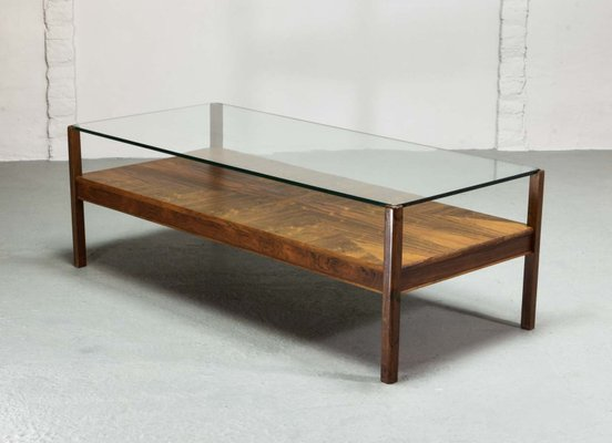 Dutch Rosewood Coffee Table With Glass Top From Fristho 1960s For