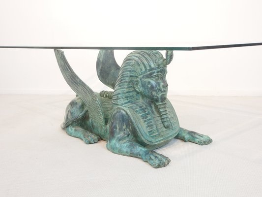 Awe Inspiring Regency Coffee Table With A Bronze Sphinx Base 1980S Andrewgaddart Wooden Chair Designs For Living Room Andrewgaddartcom