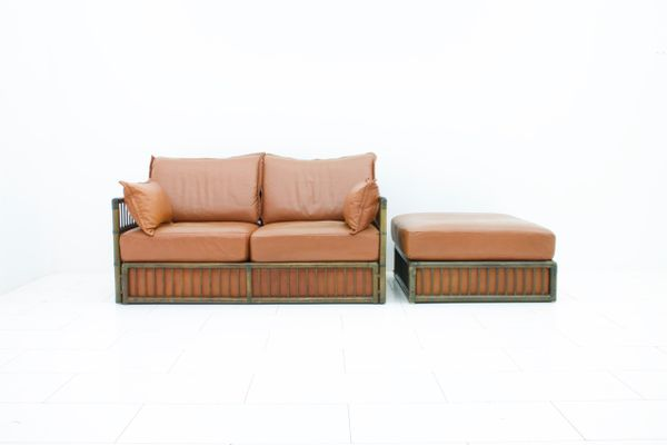 Vintage Two-Seater Leather Sofa & Ottoman Set from Rolf Benz, 1978 ...