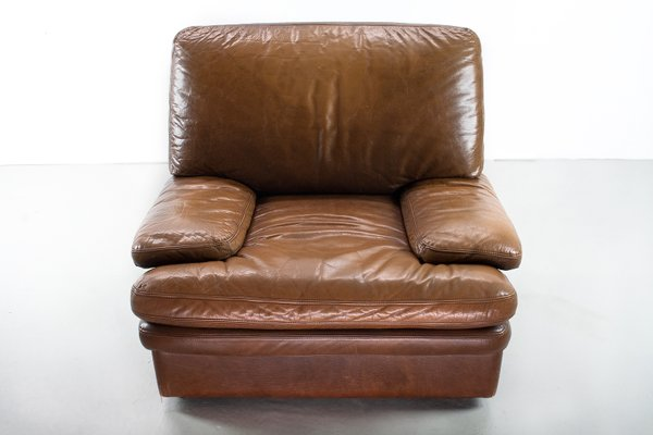 Mid Century Modern Brown Leather Lounge Chair 1