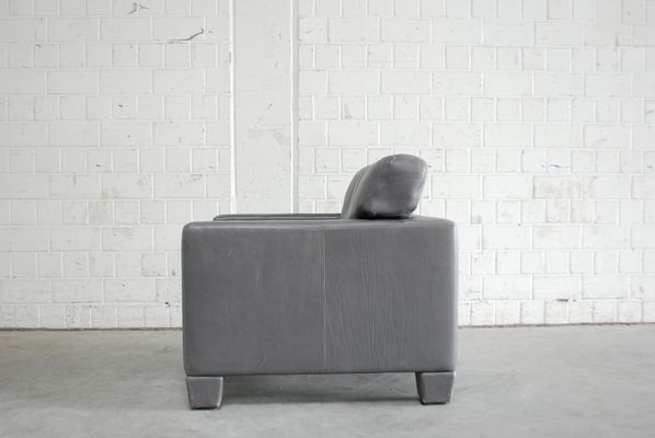 Ordinaire Swiss DS 17 Grey Leather Armchair From De Sede, 1980s 15