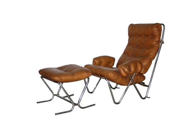 Excellent Mid Century Cognac Leather Tubular Chrome Lounge Chair With Ottoman Pabps2019 Chair Design Images Pabps2019Com