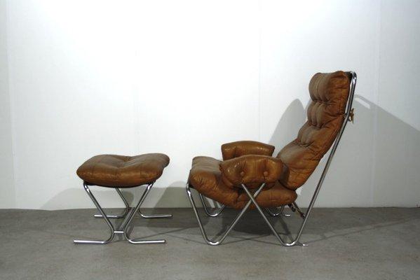 Mid Century Cognac Leather Tubular Chrome Lounge Chair With Ottoman