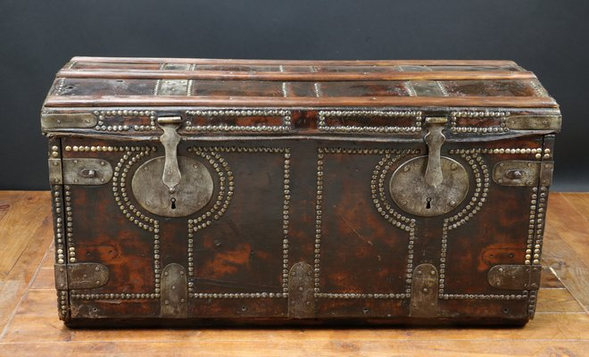 Antique Leather Chest For At Pamono