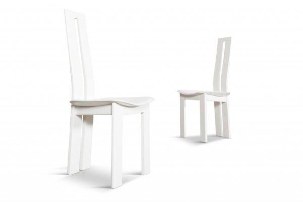 Sedie da pranzo in pelle bianca di Pietro Costantini, anni \'70 in ...
