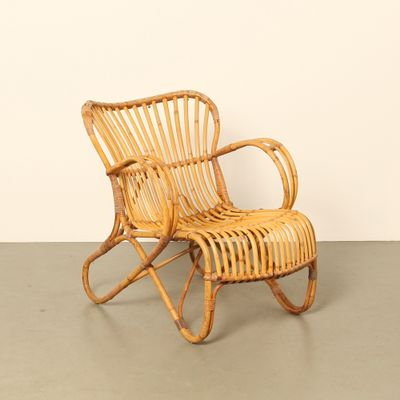 RB 2 Rattan Lounge Chair By Dirk Van Sliedrecht For Rohe Noordwolde, 1950s 1