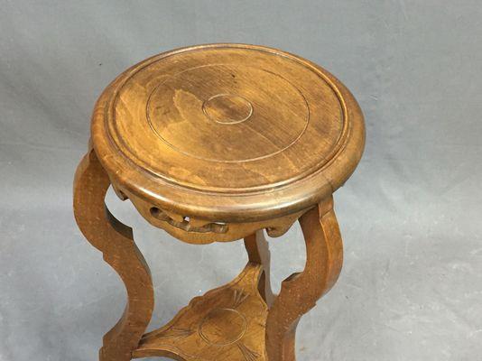 Sgabello vintage art nouveau in legno di noce in vendita su pamono