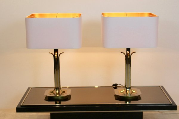 Mid Century Modern Br And Chrome Table Lamps Set Of 2 9