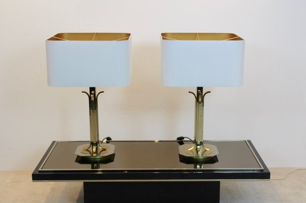 Mid Century Modern Brass And Chrome Table Lamps Set Of 2