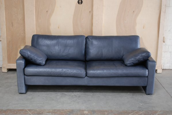 Vintage Conseta Blue Leather Sofa From, Blue Leather Furniture