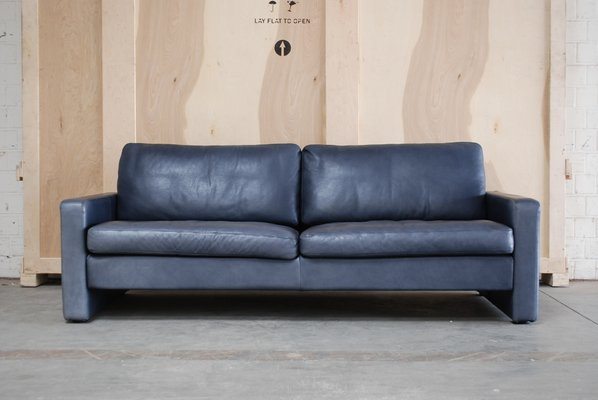 Vintage Conseta Blue Leather Sofa From