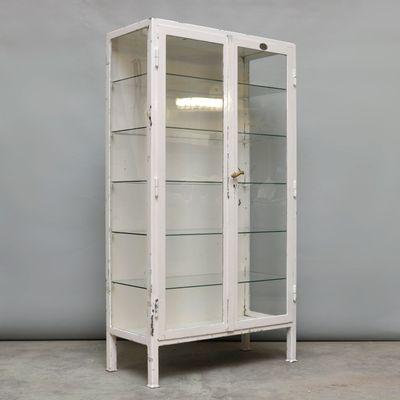 Etonnant Vintage Steel And Glass Medicine Cabinet, 1930s 2