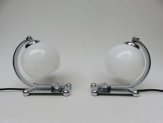 Vintage Chromed Art Deco Table Lamps, Set Of 2 1