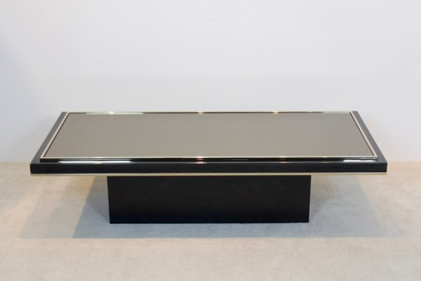 Gentil Vintage Brass Mirrored Glass Coffee Table By Roger Vanhevel 1