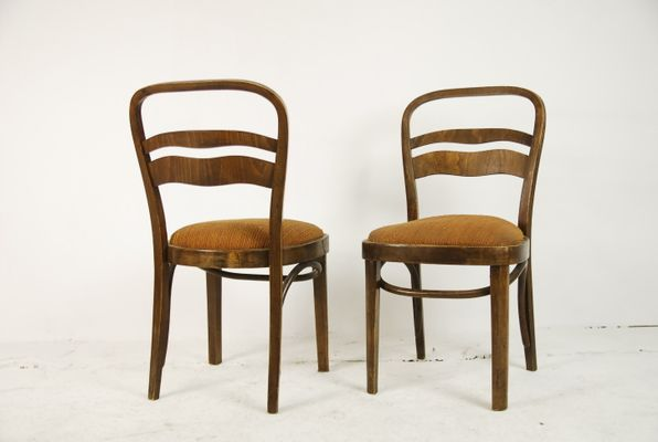 Vintage Art Deco Style Walnut Veneer Chairs Set Of 2