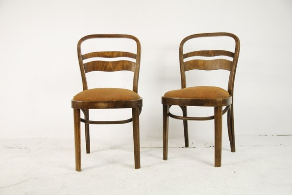 Vintage Art Deco Style Walnut Veneer Chairs Set Of 2 1