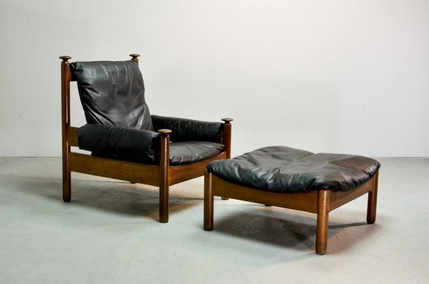 Mid-Century Scandinavian Black Leather Sofa Set, 1960s for sale at ...