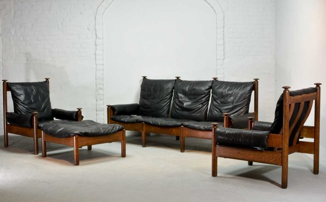 Awesome Mid Century Scandinavian Black Leather Sofa Set 1960S Andrewgaddart Wooden Chair Designs For Living Room Andrewgaddartcom
