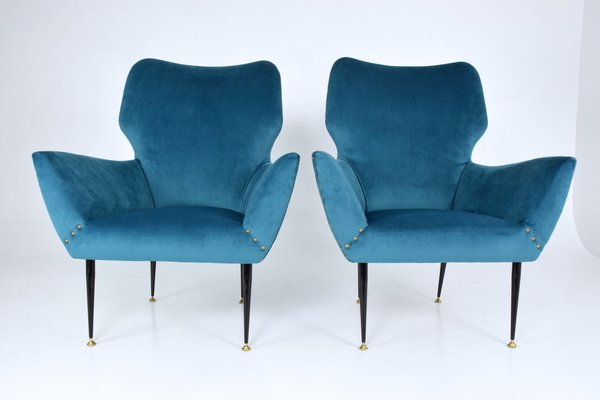 Italian Curved Lounge Chairs 1950s Set Of 2 1