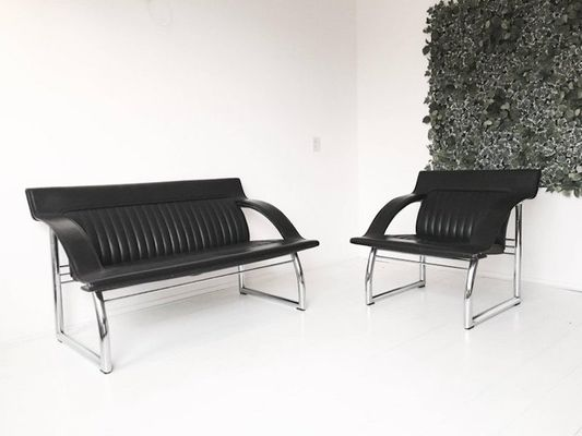 Terrific Ds 127 Black Leather Sofa And Lounge Chair By Gerd Lange For De Sede 1980S Pabps2019 Chair Design Images Pabps2019Com