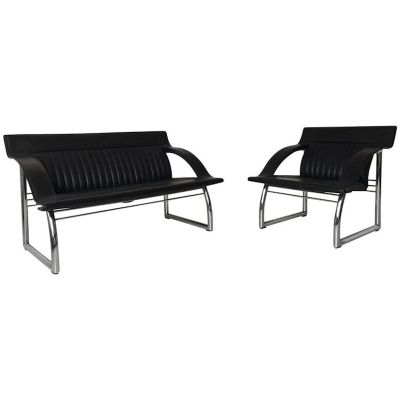 Super Ds 127 Black Leather Sofa And Lounge Chair By Gerd Lange For De Sede 1980S Pabps2019 Chair Design Images Pabps2019Com