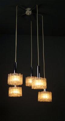 Kaskaden Hängelampe mit 5 Leuchten aus Eisglas Röhren von Doria, 1960er
