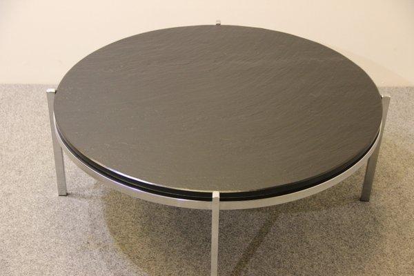 Mid Century Tisch Aus Chrom Schwarzem Schiefer Bei Pamono Kaufen