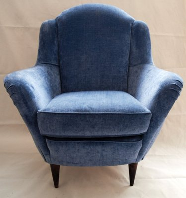 Armchairs In Light Blue Velvet, 1950s, Set Of 2 1