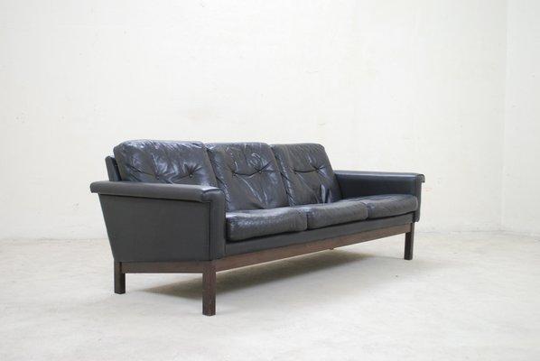 Superbe Vintage Black Leather Sofa From Asko 2