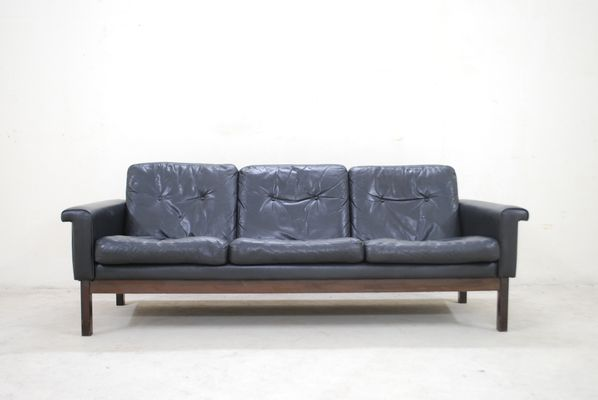 Vintage Black Leather Sofa From Asko 1