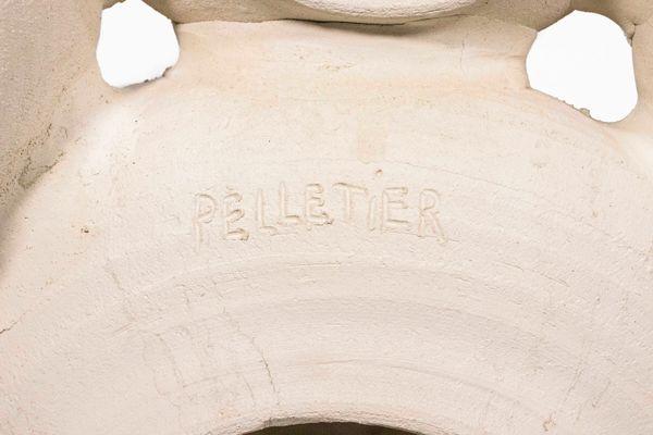 Applique vintage grande in ceramica di georges pelletier in