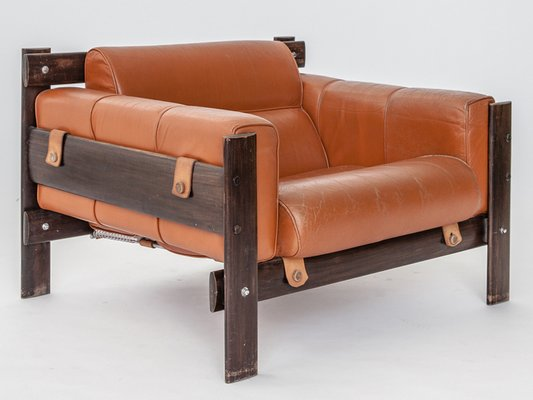 Leather And Jacaranda Lounge Chair By Percival Lafer, 1958 1