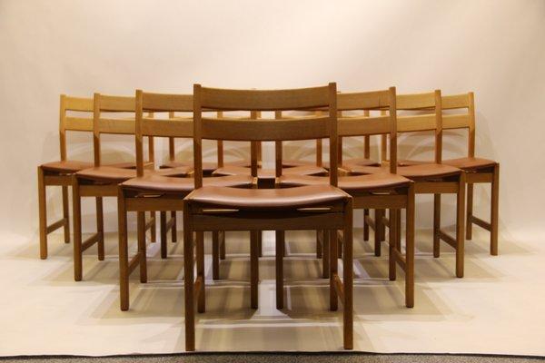 Sedie Vintage Pelle : Sedie da pranzo vintage in quercia e pelle marrone di kurt
