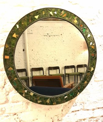 Round Brass Molten Glass Mosaic Framed Mirror 1950s For Sale At