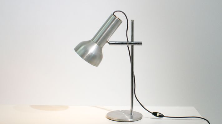 adjustable desk lamp. Industrial Adjustable Desk Lamp In Pressed Aluminum, 1950s 1