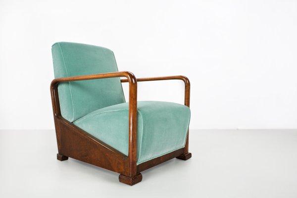 Art Deco Fauteuil.Fauteuil Vintage Art Deco En Orme Et Velours