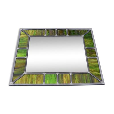 Vintage Mirror with Iridescent Green Stained Glass Frame for sale at ...