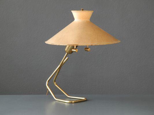 Grande lampe de bureau en laiton avec abat jour en vélin de